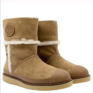 Tory Burch suede shearling camel boots 7.5